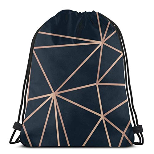 AOOEDM Golden Lines Dreieck auf dunklem Vektorbild Kordelzug Großsäcke Rucksack Tasche Sport Gym Sackpack für Männer und Frauen Outdoor Travel Customized