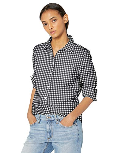 Amazon Essentials Damen Langarm-Bluse, klassische Passform, Popelin, Classic Gingham,   L