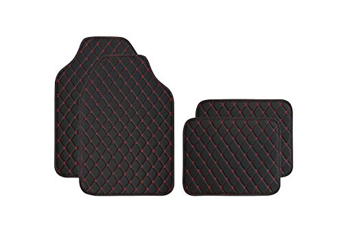 SHIMAKYO Car Floor Mats for SUV Truck 4 Pcs - Leather, Diamond Pattern, with Rubber Backing, All Weather SK1360-BK Black