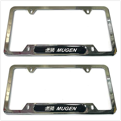Auteal Car Stainless Steel Metal Mugen JDM License Plate Tag Frame Cover Holders w/Caps Screws for Civic (2 Silver)