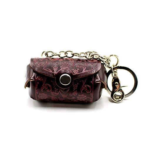 Llavero portamonedas con forma de bolso abanico de piel, acabado artesanal –...
