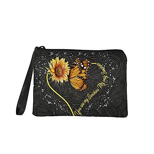 Monedero de maquillaje bolsa de viaje bolsa de cosméticos bolsa de lavado bolsa de mano para mujeres niñas, Girasol Y Mariposa 1, Organizador de bolso
