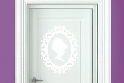 CUT IT OUT Lady Profil in Jugendstil Rahmen Tür Raum Sticker Art Aufkleber–weiß (Höhe...