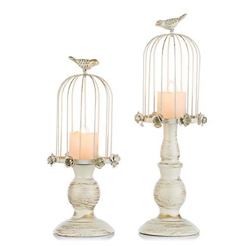 Sziqiqi Vintage Vogelkäfig Kerzenleuchter, Dekoration Kerzenhalter für Hochzeit und Esstisch, Kerzenständer aus Eisen mit Schnitzfiguren, Schmuck für Abendessen mit Kerzen (S + L)