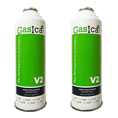 REPORSHOP - 2 Botellas Gas Ecologico Gasica V2 255Gr Sustituto R22, R32, R407C, R410A Freeze Organico