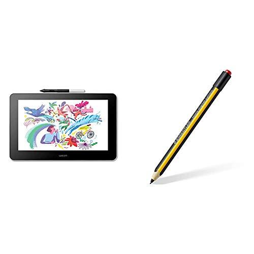 Wacom One Creative Pen Display para Esbozo y Dibujo en Pantalla + Staedtler Noris Digital Jumbo 180J 22, Lápiz EMR con Goma de Borrar, Lápiz Capacitivo para Escritura Digital, Color Amarillo-Negro