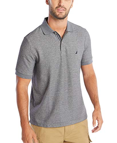 Nautica Men's Standard Classic Short Sleeve Solid Polo Shirt, Charcoal Heather, Medium