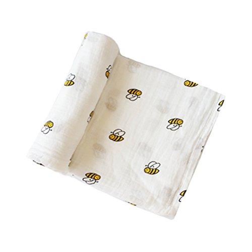 Manta para envolver bebés de algodón con gasa muselina, de YeahiBaby Littie Bee Talla:47.2 * 47.2 inch