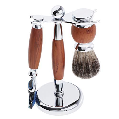 Baoblaze Kit de Rasage Blaireau à Cou + Support Brosse à Raser + Rasoir à 5 Couches Professional Barbe Salon Tool - marron