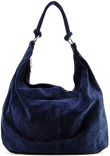 OH MY BAG, borsa modello Love-in vera pelle di vitello nubuck-portato spalla e mano Made in Italy, per donna, il must Have di quest'autunno inverno, blu scuro, compatto, (Bleu Foncé), compact