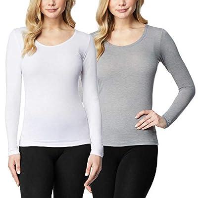 32 DEGREES Ladies' Heat Long Sleeve Scoop Neck Tee 2-Pack (S, White/Grey)