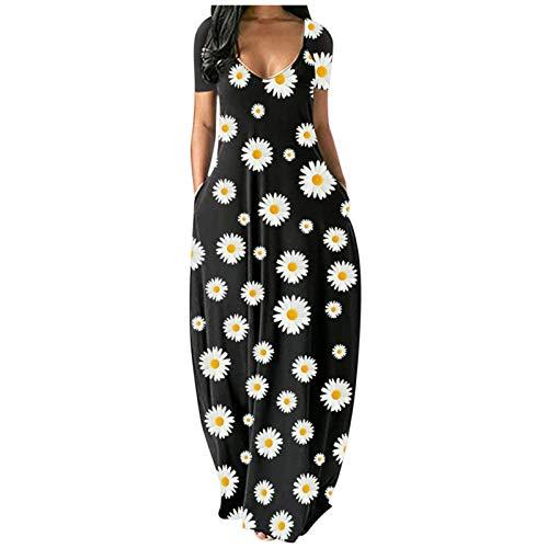 Vestido largo de verano con estampado de flores para mujer sexy de manga corta con bolsillos