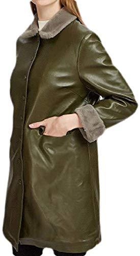 Dames Faux-lederen fleece dikke lange jas winter trui jas