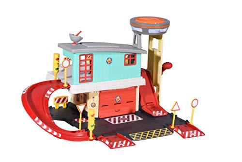 Dickie Toys 203097003 Feuerwehrmann Sam Fire Sation, Feuerwehr Spielset auf 2 Etagen inkl. Jupiter aus Metall + weiteres Zubehör, Maße: 45x23 cm