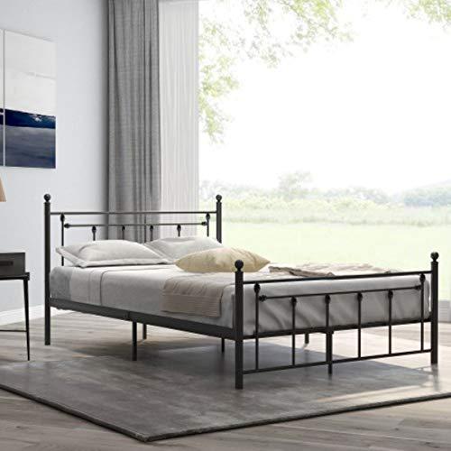 FlyingShadow Smidesjärnsäng dubbelsäng europeisk klassisk järnsäng sovrum möbler svart vuxen sovrum metallsäng 140 x 200 cm