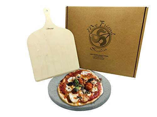MY FRIEND SICILIA - Set Pietra LAVICA ETNEA Pizza + Pala Pizza - Tonda Diametro 35cm - Cottura Sana e Naturale (Pietra lavica + Pala)
