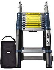 WORHAN® 5.6m Escalera Doble Telescopica Multiuso Multifuncional Plegable Tijera Aluminio Nueva Generación + Bolsa Calidad Alta K5.6+Bag