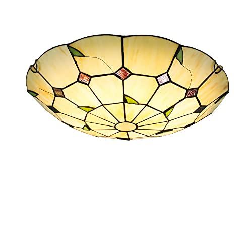 Luces de techo LED de estilo Tiffany, montaje empotrado, lámpara de techo de pasillo con vidrieras vintage de 6000 K, accesorios de iluminación de techo con pantalla redonda retro para sala de estar