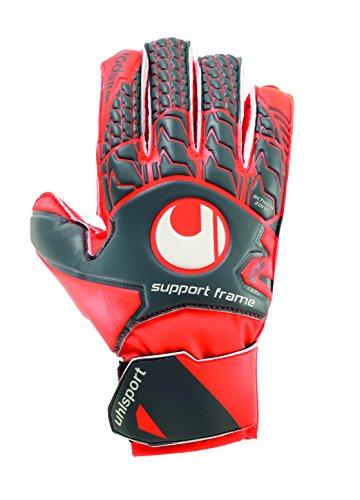 uhlsport Torwarthandschuhe AERORED-Soft SF-In den Größen 4-8 Innenhand Keeper-Handschuhe entwickelt mit Profis - Optimaler Halt und Grip, langlebig - Kindergrößen verfügbar, dark grau/fluo rot/Weiß, 7