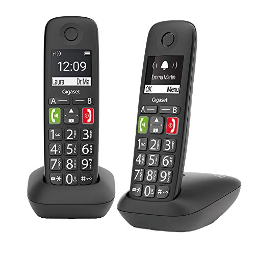 Gigaset E290HX – bezprzewodowy telefon DECT dla seniorów do podłączenia do istniejącej bazy DECT – telefon z ładowarką – duży wyświetlacz i przyciski – funkcja wzmacniacza, czarny
