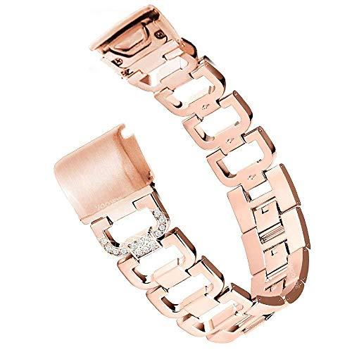 YOOSIDE Fenix 5S/Fenix 6S Edelstahl Armband, Quick Fit Edelstahl Metall Ersatzarmband Bling-Bling Uhrenarmband für Garmin Fenix 5S Plus,Fenix 6S Pro/Sapphire,Rotgold