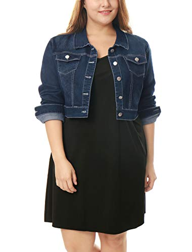 uxcell Women's Plus Size Button Closed Cropped Denim Jacket Dark Blue 2X