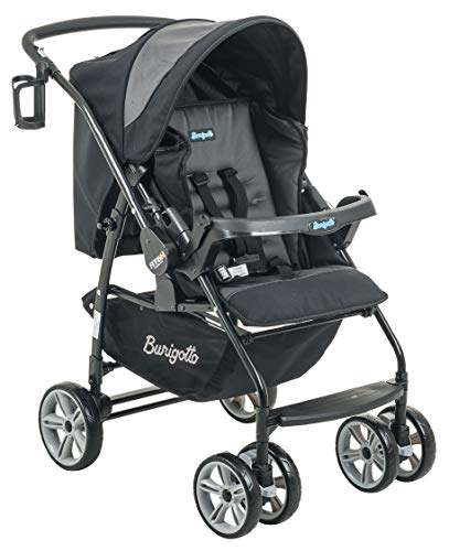 Carrinho de Bebê AT6 K, Burigotto, Preto e Cinza, Até 15 kg