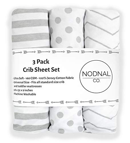 NODNAL CO. Gray Fitted Crib Sheets Set 3 Pack Standard Baby or Toddler Mattress Jersey Knit Cotton Girl/Boy Nursery Bedding - Chevron, Polka Dot, Stripe 160 GSM Sheet (Crib/Toddler Sheets)