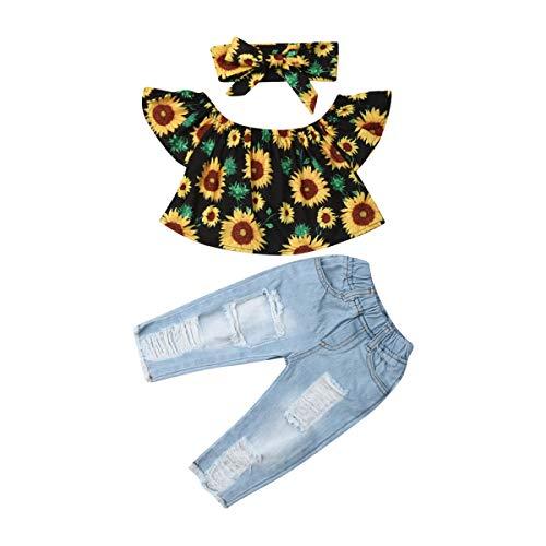 Kleinkind Baby Mädchen Outfits Schulterfrei Sonnenblumen Top Lange Jeans Hosen Stirnband 3 Stück Kleidung Set für Sommer Herbst (6-12 Monate, Gelbes Oberteil)