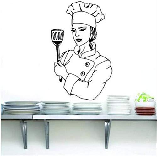 Lovemq Etiqueta De La Pared 40 * 57 Cm Chef Decal Etiqueta De La Pared Arte Decoración Para El Hogar Plantilla De Vinilo Cocina Cocinero Decoración Para El Hogar Etiqueta De La Pared