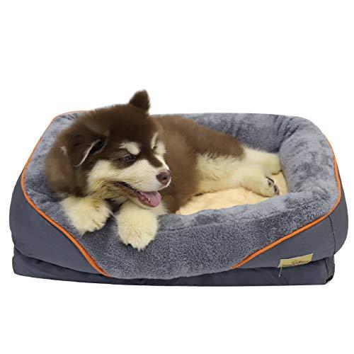 Bingopaw Orthopädisches Hundebett Memory-Schaum Hundesofa: waschbar und abnehmbar Hundekissen, rutschfest Haustierbett mit Beutelspender Hundekotbeutel für kleine Hunde Katzen, S 74x60x20cm