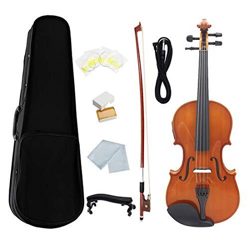 Nrpfell AV-E03 4/4 Elektro Akustisches Violin Geigen Kit in Gr??E, Mattes Finish, Fichten Gesicht, 4 Saitig, mit Kolophonium Kabel, NatüRliche Farbe