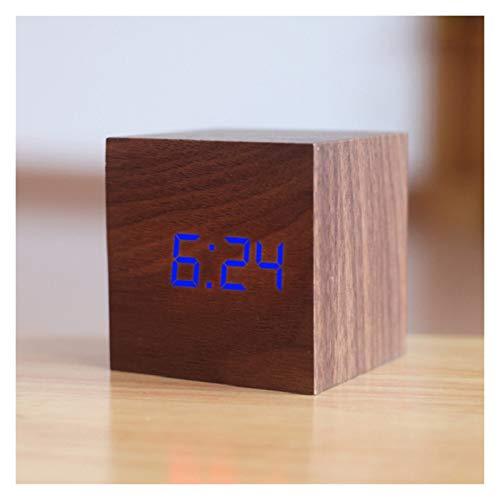 LED de Alarma del Reloj, de Madera LED Digital Despertador de Madera Resplandor Retro Reloj de Escritorio decoración de la Tabla de Control de Voz Función Snooze Escritorio Herramienta (Colore : L)
