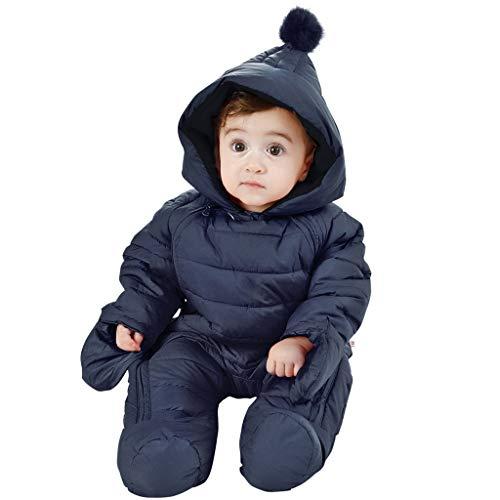 WYTbaby Bambino Tute da Neve Neonato Pagliaccetto con Cappuccio Tuta Completo Invernale Cerniera Frontale 3-6 Mesi,Blu Scuro