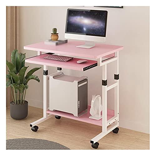 Estaciones de Trabajo informáticas Mobile Computer Desk on Wheels Ajustable PC Tabla Altura Ajustable Teclado Deslizante Bandeja para la Oficina en casa Conjunto fácil (Color : Pink)