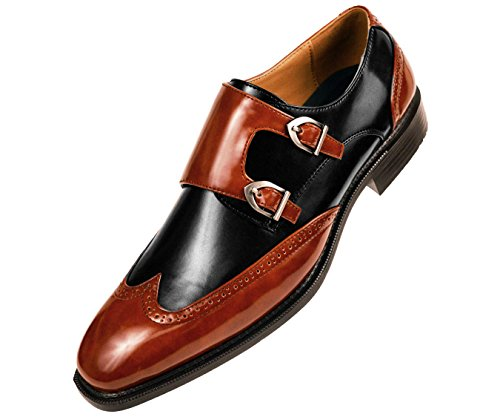 Sio Mens Black Smooth Double Monk Strap Dress Shoe with Cognac Strap and Wingtip : Style Toby-215