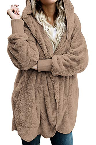 Zilcremo Mujer Lana Chaqueta Cárdigan con Capucha Frente Abierto Abrigo Fleece de Piel Sintética Invierno Brown S