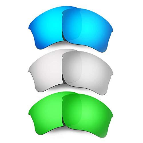 HKUCO Mens Replacement Lenses For Oakley Flak Jacket XLJ Sunglasses Blue/Titanium/Emerald Green Polarized