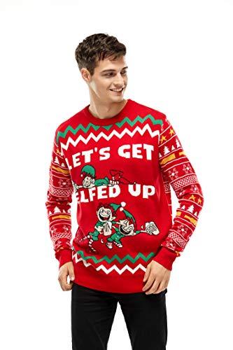 Mens Ugly Christmas Sweater Xmas Elf Pullover Sweaters Sweatshirt for Women - Medium