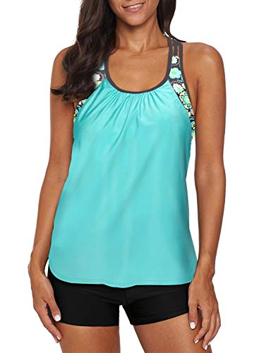 Women's Blouson Striped T-Back Push Up Tankini Top Halter Padded Slimming Swimsuit Sporty Swimwear Floral Green Plus Size XXL 18 20