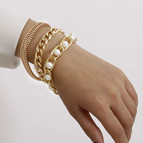 Sethain Boho - Pulsera de perlas de oro con cadena de mano de cruz de serpiente multicapa para mujeres y niñas