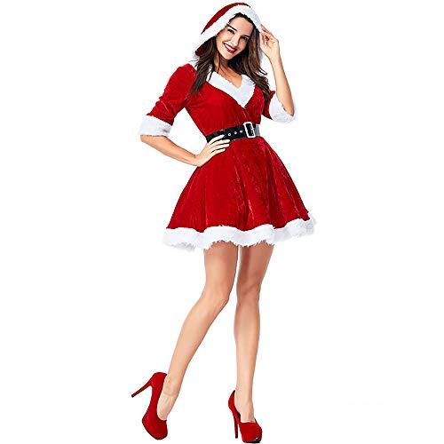 fagginakss Weihnachten Kostüm Weihnachtskleid Weihnachtsfrau Miss Santa Verkleiden V Neck Samt Weihnachtskostüm Mit Kapuzen und Gürtel