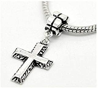 2a1679228 Antique Silver Tone Cross Charm Spacer Bead Fits European European European  Euro Jewelry Making Supply Pendant