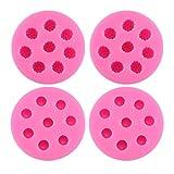 BESTONZON Molde de silicona, 4 piezas de moldes para hacer dulces 8 compartimentos de arándanos en forma de mora Pastel hecho a mano Molde Fondant de chocolate Postre (Rosa)