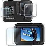 【6枚】FitStill Gopro Hero 8 Black に適用強化ガラスフィルムセット アンチスクラッチ | メイン画面用2枚 + サブ画面用2枚+LED保護フィルム2枚