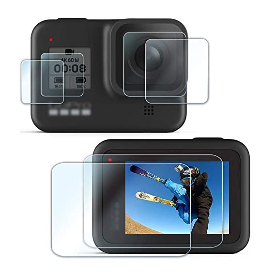 [6 pcs] fitstill screen protector for gopro hero 8 black, ultra clear tempered glass screen protector + tempered glass… 1 【life-time warranty】 life-time warranty from fitstill and 90 days money back guarantee 【secifically design】 compatible with gopro hero8 black action camera only. 【high-transparency】it provides you high-definition clear viewing. Hydrophobic oleophobic screen coating protects your camera screen against sweat and oil residue from fingerprints and keeps high-sensitivity touch response.
