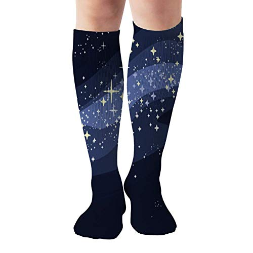 Affordable shop Milky Way Stars Flashing Abstract Constellation Compression Socks Women & Men - Best For Running,Medical,Athletic Sports,Flight Travel, Pregnancy,19.68 Inch