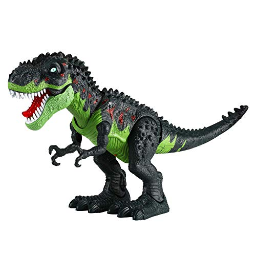 Tuko Jurassic World Dinosaur Toys LED Light Up Walking and Roaring Realistic t rex Dinosaur Toys for 3-12 Years Old Boys and Girls (RC Dino) (Light T-rex)