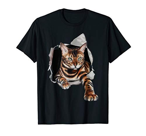 Bengal Cat Clawing Hole In Background Shirt