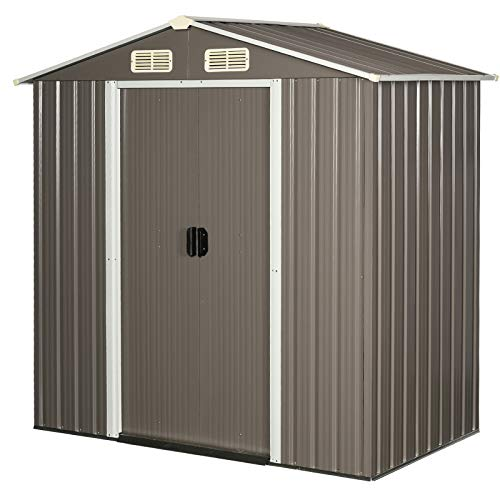 Outsunny 6 x 4 ft Corrugated Metal Garden Storage Shed w/Sliding Door Sloped Roof Outdoor Garden Patio Equipment Tool Storage Shed - Grey